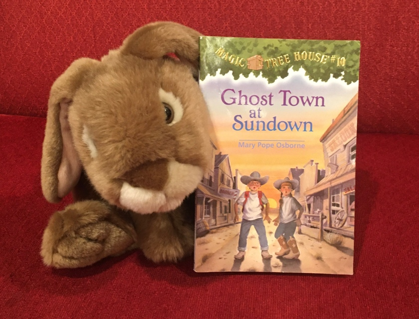 Caramel enjoyed reading Ghost Town at Sundown (Magic Tree House #10) by Mary Pope Osborne, and is looking forward to reading more of these fun and informative books.
