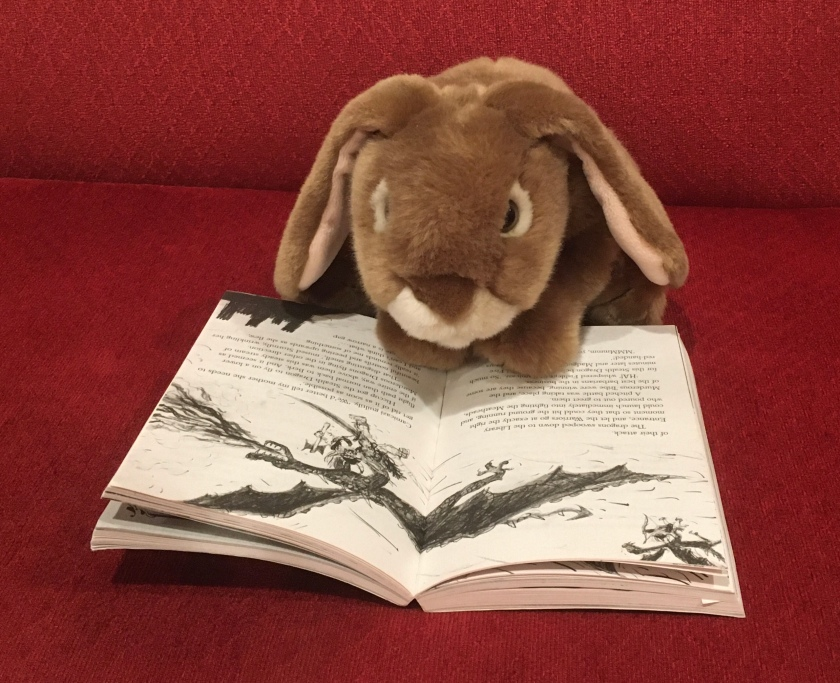 Caramel is reading A Hero's Guide to Deadly Dragons (Book #6 of How to Train Your Dragon Series) by Cressida Cowell.
