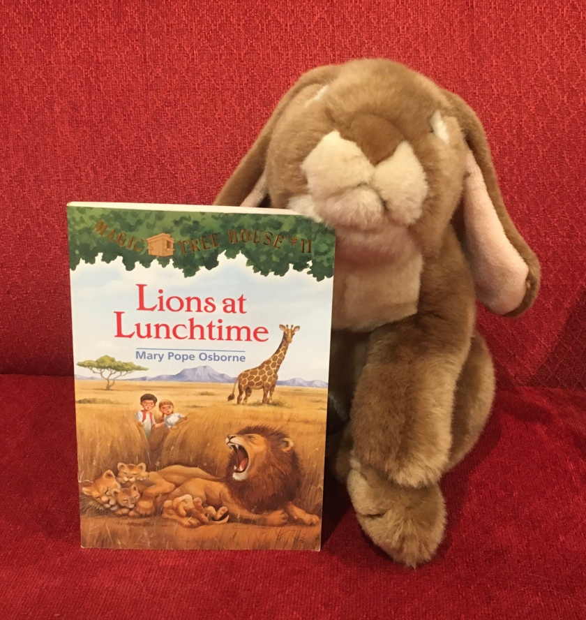Caramel enjoyed reading Lions at Lunchtime (Magic Tree House #11) by Mary Pope Osborne, and is looking forward to reading more about the adventures of Jack and Annie.