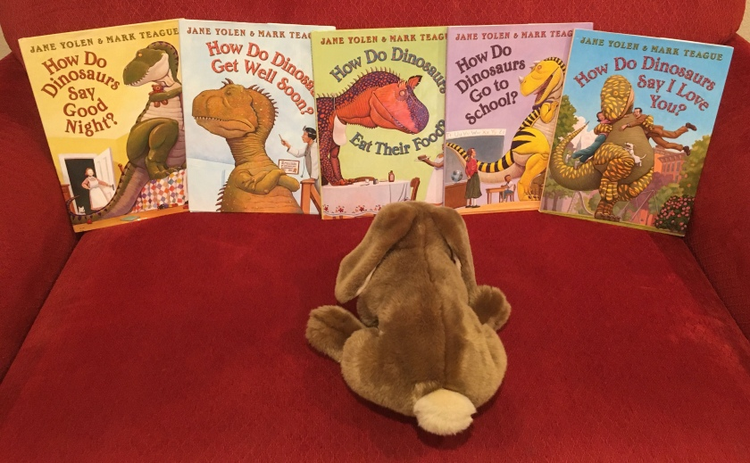 Caramel has enjoyed reading and rereading How Do Dinosaurs Say Good Night? (2000), How Do Dinosaurs Get Well Soon? (2003), How Do Dinosaurs Eat Their Food? (2005), How Do Dinosaurs Go To School? (2007), and How Do Dinosaurs Say I Love You? (2009), all written by Jane Yolen and illustrated by Mark Teague, through the years. He recommends these books to the all the little bunnies who love dinosaurs and their parent bunnies who love to read with them.