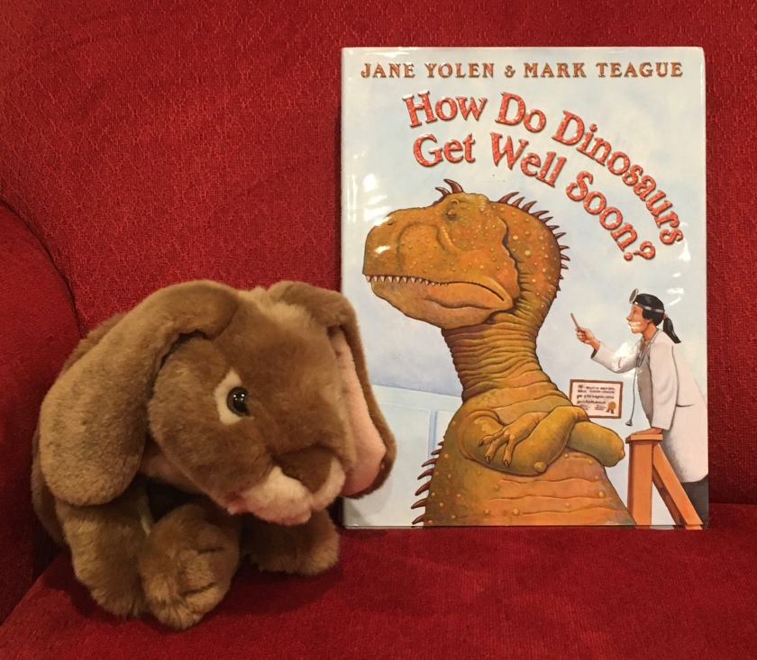 Caramel reviews How Do Dinosaurs Get Well Soon? (2003),  written by Jane Yolen and illustrated by Mark Teague.
