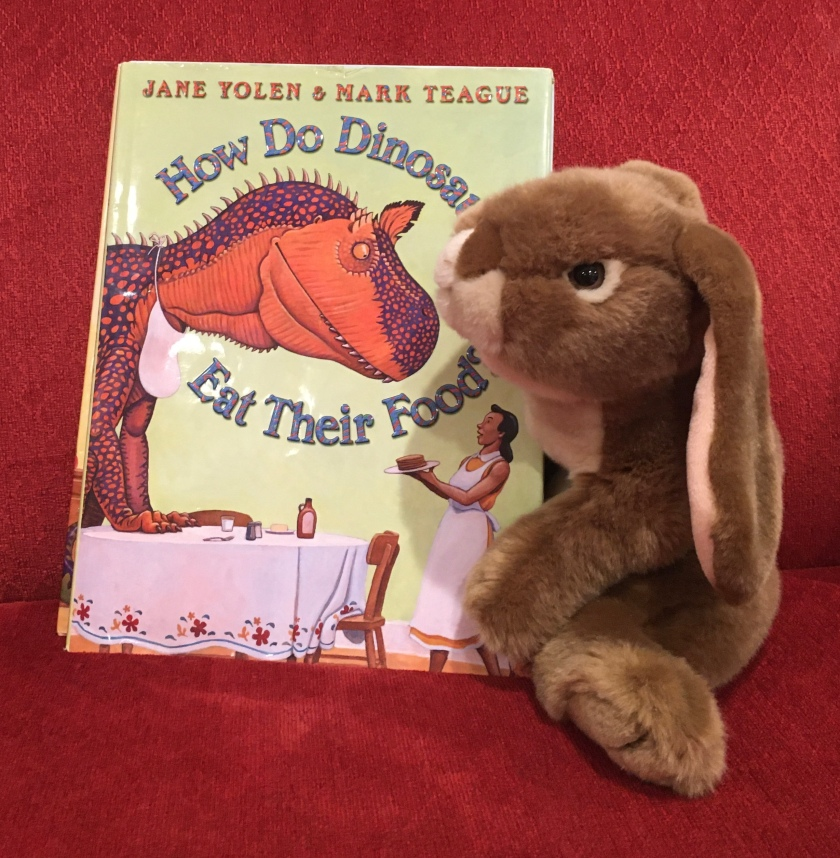 Caramel reviews How Do Dinosaurs Eat Their Food? (2005),  written by Jane Yolen and illustrated by Mark Teague.