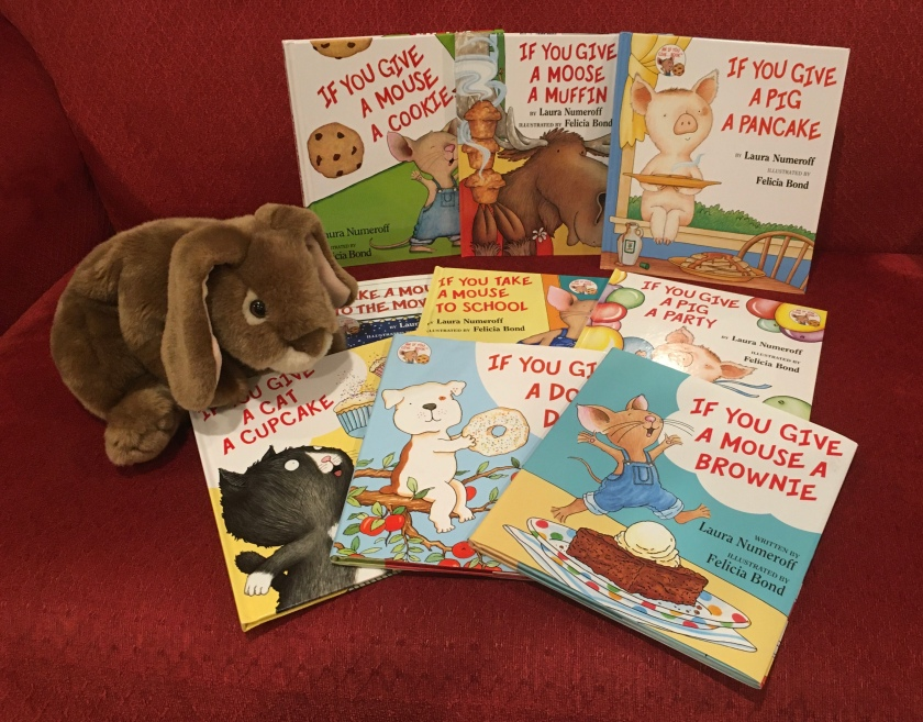 Caramel has loved reading If You Give a Mouse a Cookie (1985), If You Give a Moose a Muffin (1991), If You Give a Pig a Pancake (1998), If You Take a Mouse to the Movies (2000), If You Take a Mouse to School (2002), If You Give a Pig a Party (2004), If You Give a Cat a Cupcake (2008), If You Give a Dog a Donut (2011), and If You Give a Mouse a Brownie (2016), all written by Laura Numeroff and illustrated by Felicia Bond, through the years, and recommends them to all little bunnies and their grownups who love reading with them.