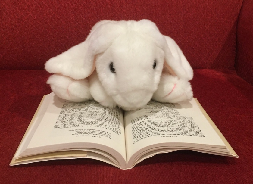 Marshmallow is reading The Hobbit by J.R.R. Tolkien.