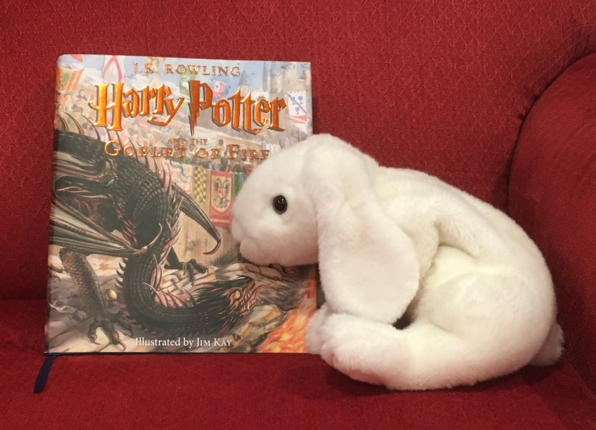 Marshmallow rates Harry Potter and the Goblet of Fire, written by J.K.Rowling and illustrated by Jim Kay 100%.